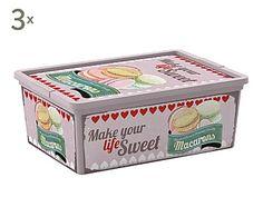 Set de 3 cajas de almacenaje Vintage Sweets, lila - S