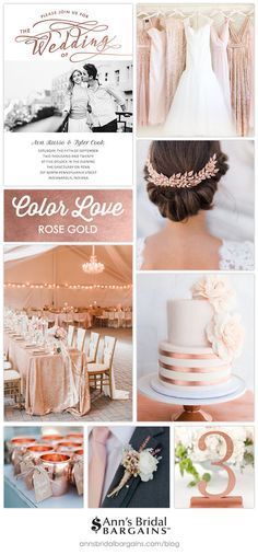 Color Love: Rose Gold A gorgeous choice for your wedding! Rose gold is on-trend, eye-catching and ro Rose Gold Theme, Gold Wedding Colors, Gold Wedding Theme, Rose Wedding, Wedding Color Schemes, Wedding Themes, Fall Wedding, Dream Wedding, Wedding Decorations