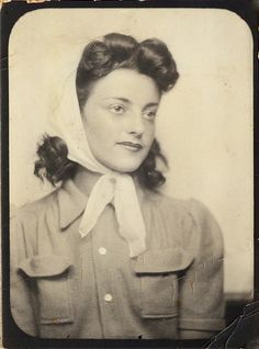 +~ Vintage Photo Booth Picture ~+  Pretty Young Woman wearing a scarf.