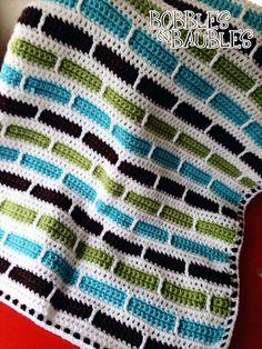 Crochet Stripes by Bernat @ BobblesandBaubles.com for FREE Pattern