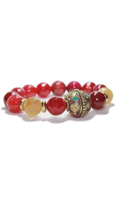 by Devoted  Coral Tibetan Bead Bracelet