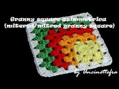 A lezione di granny: granny asimmetrica (mitered/mitred granny square) - YouTube
