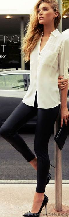 I am loving the new summer street style look ! this light cream button up with these tight thin leather leggings are the perfect quick outift ! the shoes are very simple yet give the outfit a little flare with the pointed toe ! Not a lot of accessories but a few are perfect !