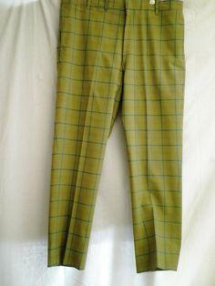 Vintage 1960's Men's Pants Plaid Windowpane Checked Pants Mod Hipster