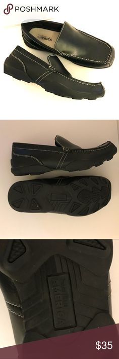 Men's Perry Ellis America Black Leather Loafers Men's Perry Ellis America Black Leather Loafers Size 10.5. Style name: Prepp Loafers. Worn once. Perry Ellis Shoes Loafers & Slip-Ons