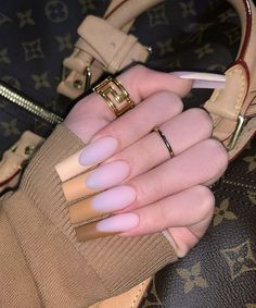 Brown Acrylic Nails, Coffin Nails Ombre, Bling Acrylic Nails, Square Acrylic Nails, Glam Nails, Best Acrylic Nails, Tapered Square Nails, Exotic Nails, Nails Only