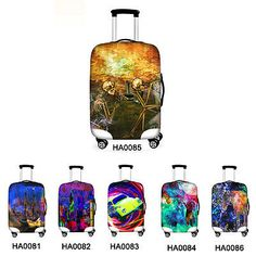 Markable luggage covers with world map design you can color on skull cool dust proof travel spandex luggage cover suitcase protector 18 30 inch gumiabroncs Images