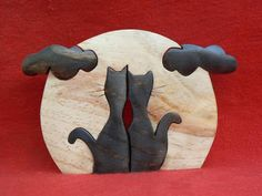Artesanato Paraty - Artesanato em madeira: Gato 012      12x19cm      R$ 26,00