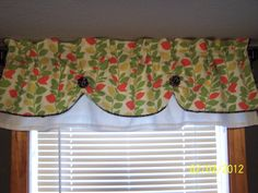 Valance Curtain Swag Swagged Custom made Designer Fabric Bathroom, Kitchen, White, Black, Green and Peach