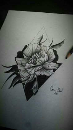 Peony by cora lee at shambhala tattoo geometric orchid tattoo, geometric tattoo thigh, geometric Tattoo Sketches, Tattoo Drawings, Body Art Tattoos, Cool Tattoos, Tatoos, Piercings, Piercing Tattoo, Et Tattoo, Tattoo Motive