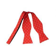 Red White Dotted Self-Tie Bow Tie www.vonfloerke.com