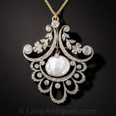 Edwardian Pearl and Diamond Pendant