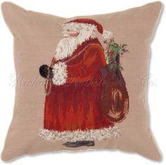 Traditional+Needlepoint+Pillows+|+Traditional+Santa+Holiday+Pillow+-+Christmas+Pillow