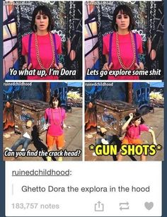 Dora in the 'hood' Stupid Funny Memes, Funny Relatable Memes, Haha Funny, Funny Posts, Hilarious, Funny Stuff, Random Stuff, Funny Shit, Funny Things