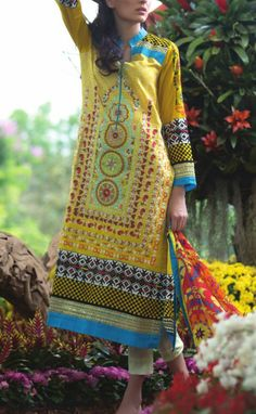 Buy Yellow Embroidered Cotton Lawn Dress by Mahnoor by Al-Zohaib Embroidered Lawn Collection 2015