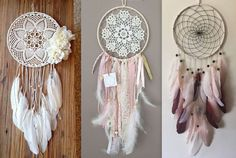 Tutoriels faire un attrape rêves - Lace Dream Catchers, Dream Catcher Boho, Upcycled Crafts, Diy And Crafts, Crochet Dreamcatcher, Crochet Granny Square Afghan, Indian Crafts, Chevron Patterns, Table Runner Pattern