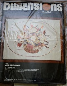 Dimensions - Oval Lace Floral - Cross Stitch Kit - 1979 NIP 16 x 12 Frame Size by BluetreeSewingStudio on Etsy
