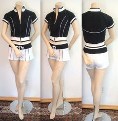 L Bebe Sport $98+ Cropped Jacket Shorts Set Crop Top Shirt Black White Sexy NWT