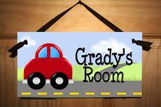 VRoOM VroOm Car Boys Bedroom Baby Nursery Kids by ToadAndLily, $14.00