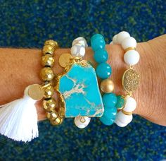 Turquoise, white, & gold