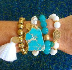 Turquoise, white, & gold