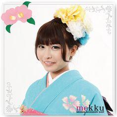 【花飾り】【ヘッドドレス】お花ウェディングハット ブルー/ウェディングアクセサリー〜mekku〜【メック】