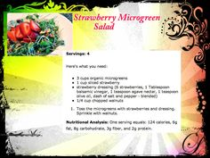 strawberry microgreen salad #recipe  http://www.neverstopfitness.com/