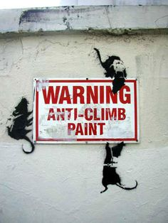 Banksy is a well know graffiti street artist using stencils and spray cans, many people believe him to be original, but others compare hi. Banksy Graffiti, Arte Banksy, Banksy Rat, Street Art Banksy, Street Mural, Graffiti Artwork, Bansky, Banksy Paintings, Famous Graffiti Artists