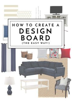 Ready to overhaul a room but don& know where to start? Learn how to create . Ready to overhaul a room but don& know where to start? Learn how to create a design board to help execute your vision - no designer or tech skills necessary! Interior Design Vision Board, Learn Interior Design, Interior Design Courses, Interior Design Business, Decor Interior Design, Interior Decorating, Decorating Tips, Interior Design Brief, Interior Design For Beginners