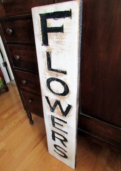 Flowers Sign Carved in a Cypress Board Rustic by AmericanaSigns