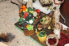 Detalle de verduras de plastilina