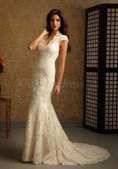 Charming Cap Sleeve Applique Draping Beige Lace Wedding Dress#GOAE50585662