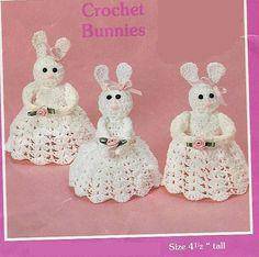 Crochet Bunnies Vintage Pattern angels, granny easter crochet pattern bunny Amigurumi plush toy ornament angel ears pdf instant download