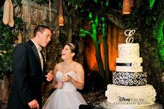 Monogram tufted wedding cake at Disney's Animal Kingdom