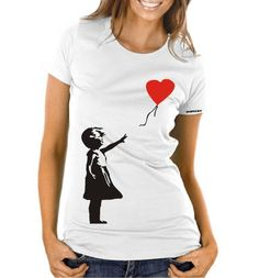 Banksy Balloon Girl T-shirt – Women's Slim-fit – £15    http://banksyt-shirts.com/banksy-balloon-girl-t-shirt-womens-slim-fit/    Banksy's art work the 'Balloon Girl' as it's better known originally started appearing on walls around 2002. The clever piece of a girl letting her heart fly away were found across the Southbank and on Old Street in London.    Bonham's recently sold an image of the Balloon Girl for a record £ 73k, almost 5x it's estimate.