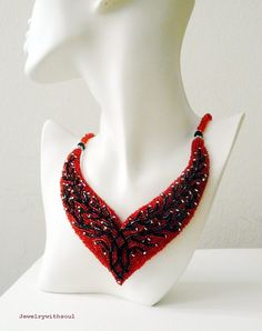 Bead embroidery cherry blossom branch bib necklace in scarlet coral red, jet black and silver - Embrace. $110.00, via Etsy.