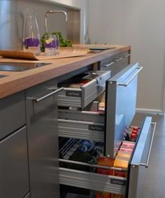 Awesome Pull Out Drawers Beside The Fridge For Extra Pantry Storage