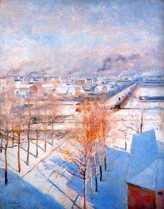 """"""" Albert Edelfelt (Finnish, 1854-1905) Paris in the Snow, 1887. Oil on panel. """""""