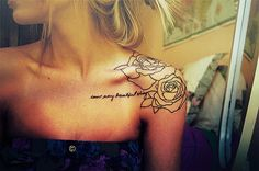 Im not a tattoo girl.i have nothing againest them, love them on other people..just not for me..with that being said i love this placement and flowers with the small cursive writing..very classy looking to me, if i were to get one ever itd be something to this effect! Not this quote though!
