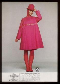 1967-Bonnie-Cashin-mod-pink-coat-hat-boots-photo-Cotton-fashion-vintage-ad