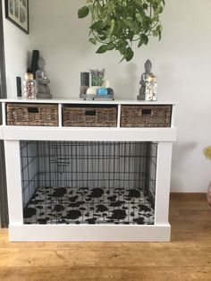 dog kennel furniture with storage ; hundehütte möbel mit lagerung dog kennel furniture with storage ; Plans dog kennel furniture - Window Seats dog kennel furniture - Do It Yourself dog kennel furniture Dog Crate Cover, Dog Kennel Cover, Diy Dog Crate, Diy Dog Kennel, Kennel Ideas, Dog Kennels, Dog Crate Table, Puppy Crate, Crate Bed