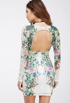 Floral-Printed Lace Bodycon Dress - Shop All - 2000079878 - Forever 21 EU