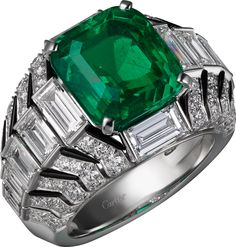 "Cartier ""Oracle"" Ring - platinum, one 6.53-carat rectangular-shaped round-cornered step-cut emerald from Colombia, onyx, baguette-cut diamonds, brilliant-cut diamonds."