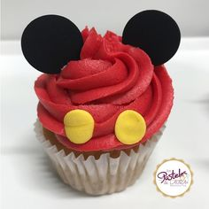 Mickey Mouse Cupcake – one Mickey Mouse Desserts, Mickey Birthday Cakes, Mickey 1st Birthdays, Mickey Mouse Decorations, Mickey Mouse First Birthday, Mickey Mouse Cupcakes, Mickey Mouse Clubhouse Birthday Party, Mickey Mouse Parties, Mickey Party