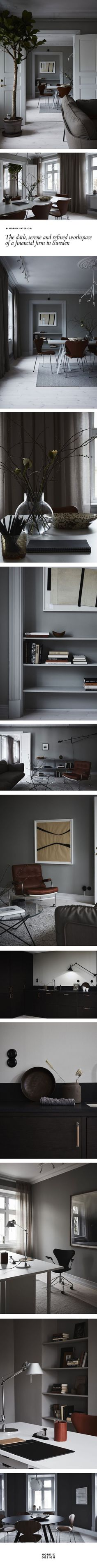 The dark, quiet and refined workspace of a finance company in Sweden Nordic Design Source by artject Nordic Interior, Interior Styling, Interior Decorating, Interior Design, Living Room Inspiration, Interior Inspiration, Build My Own House, Nordic Living Room, Hotel Room Design
