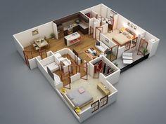 50 Plans 3D Du0027appartement Avec 2 Chambres