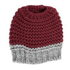 Knitted Bun Hat-Maroon