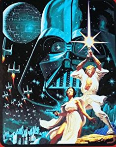 """Star Wars """"Star War"""" 46"""" X 60"""" Mink Sherpa Throw From Disney Movie. Characters Are Darth Vader, Princess Leia and Luke Skywalker on Sherpa Thick Blanket."""