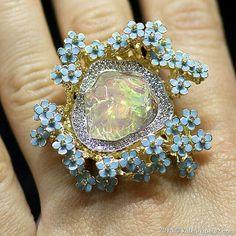 Opal and enamel ring by Gevorgian