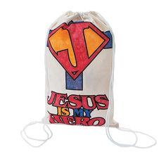 """Color Your Own """"Jesus is My Superhero"""" Canvas Drawstring Backpacks - OrientalTrading.com"""